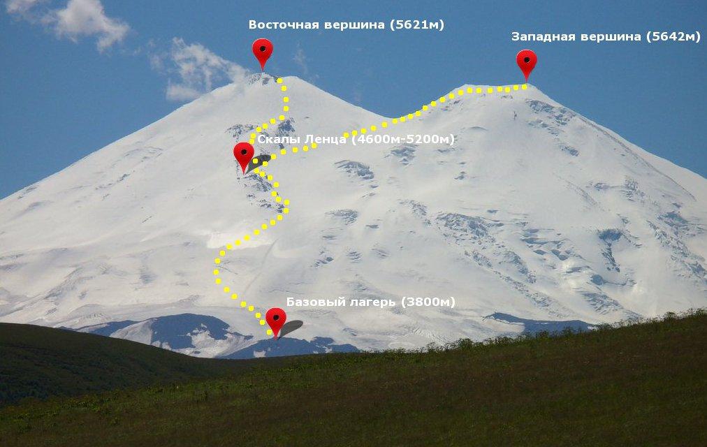Эльбрус - маршрут восхождения с севера