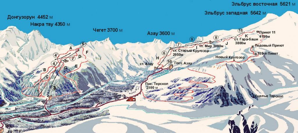 Карта трасс Приэльбрусья
